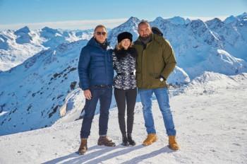 Die Hauptdarsteller der James Bond Produktion SPECTRE - Daniel Craig, Léa Seydoux und Dave Bautista