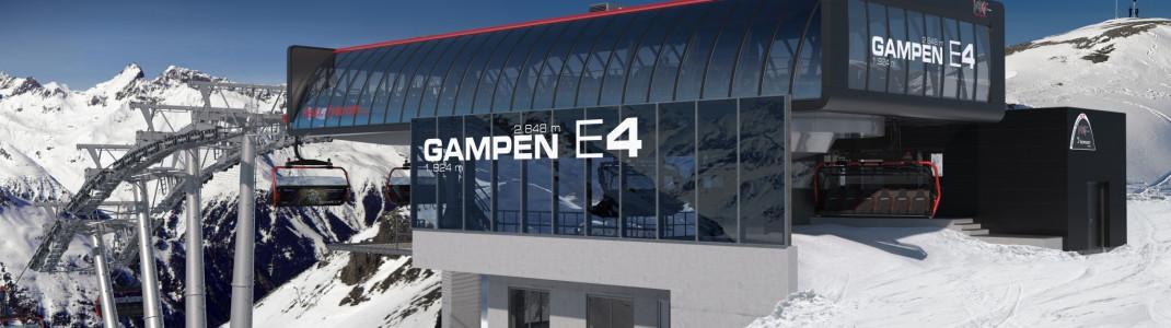 Westansicht der neuen Bergstation Gampen E4