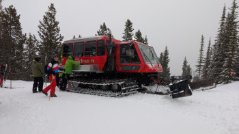 A snowcat gives you a ride into remote terrain for the cat skiing.
