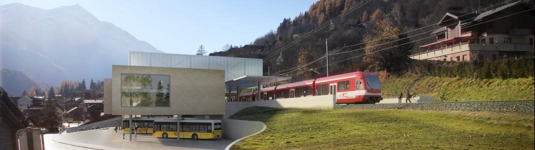 So soll der neue ÖV-Hub in Fiesch mit Bahnhof, Bus-Terminal und Talstation aussehen.