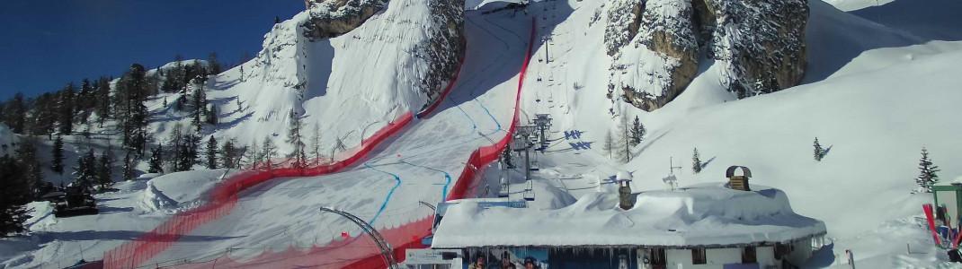WM in Cortina: Auf der bekannten Piste Olympia delle Tofana werden Abfahrt und Super-G der Damen ausgetragen.
