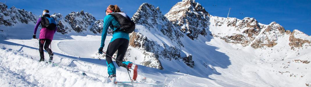 Tourengehen im gesicherten Skiraum kannst du am Pitztaler Gletscher.
