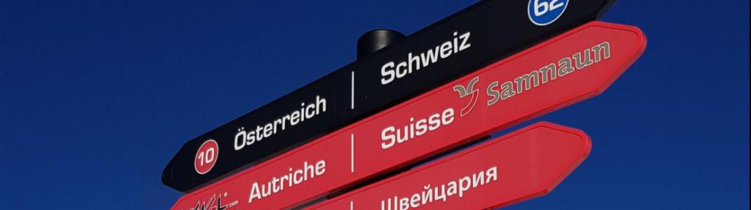 Direkt an der Grenze zwischen Österreich und der Schweiz liegt das Skigebiet Ischgl-Samnaun.