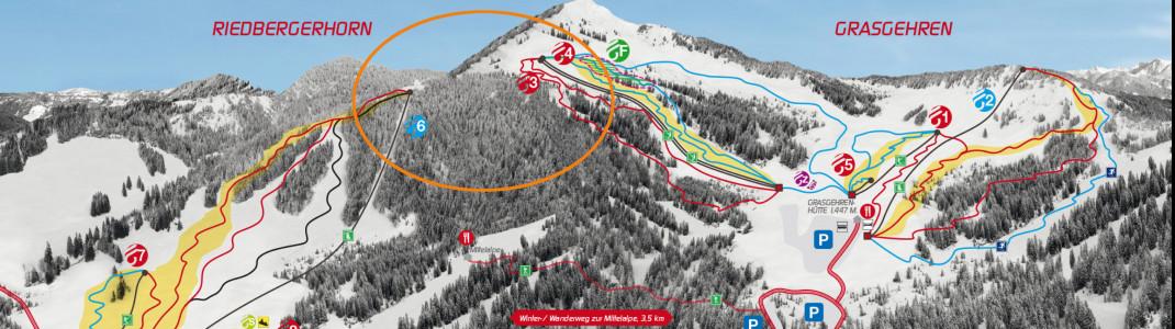 Im Bereich des orangen Kreises wäre die Verbindungsbahn entstanden. Auch eine neue Verbindungspiste war geplant.