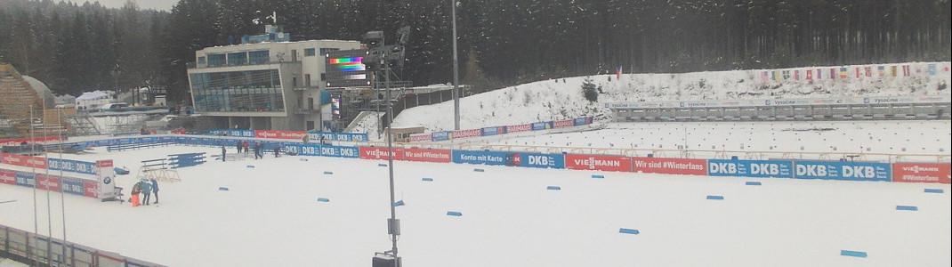 Eine Webcam zeigt den Blick ins Biathlon Stadion von Nove Mesto.