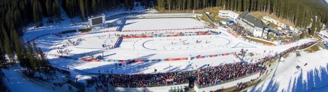 Blick ins Biathlonstadion in Pokljuka.