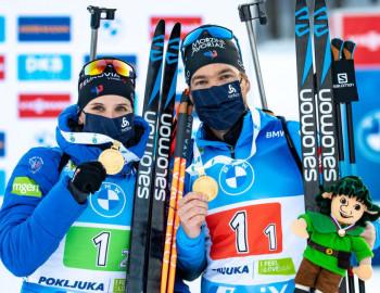 Gold für Frankreich in der Single Mixed Staffel: Julia Simon und Antonin Guigonnat.