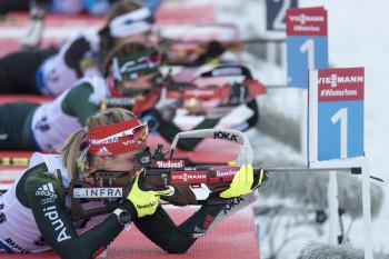 Insgesamt vier Mal muss jeder Athlet pro Rennen an den Schießstand.