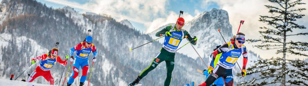 Chiemgauer Alpen statt Fußballarena auf Schalke: Die Biathlon World Team Challenge findet heuer in Ruhpolding statt.