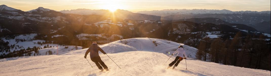 Vor allem blaue und rote Pisten samt Traumpanorama bietet Carezza den Skifahrern.