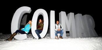 Die ehemaligen Skirennfahrer Daniela Ceccarelli (v.l.), Paolo De Chiesa und Giorgio Rocca sind alte Freunde des Hauses Colmar.