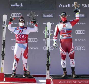 Zwei erfolgreiche Head-Athleten auf dem Podium in Saalbach: Beat Feuz (l.) und Vincent Kriechmayr.