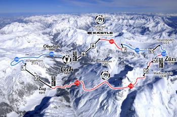 """Die Streckenführung der berühmten Skirunde """"Der Weiße Ring"""" am Arlberg."""