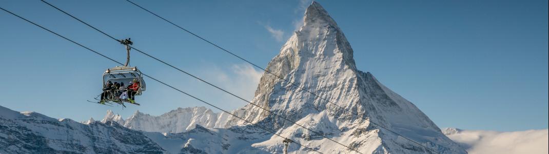 In der Schweiz warten Top-Skigebiete wie z.B. Zermatt.
