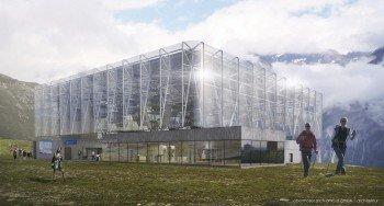 Die Bergstation am Giggijoch besticht durch ihre offene und transparente Bauweise.