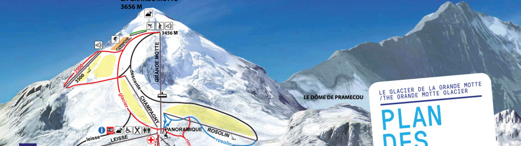 Blick auf die noch bis 5. August geöffneten Sommer-Skipisten am Grand Motte Gletscher in Tignes. (Klicke auf das Bild für die komplette Ansicht)