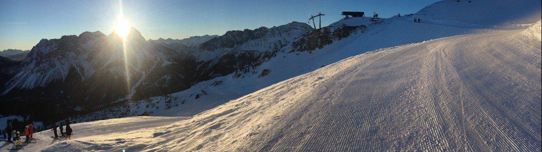 Sonnenaufgang auf 2000 Metern in der Tiroler Zugspitz Arena