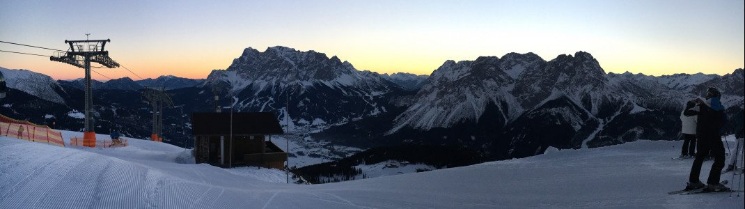 Überaus faszinierend: Das Farbenspiel der Morgendämmerung an der Bergstation der Grubigbahn II.