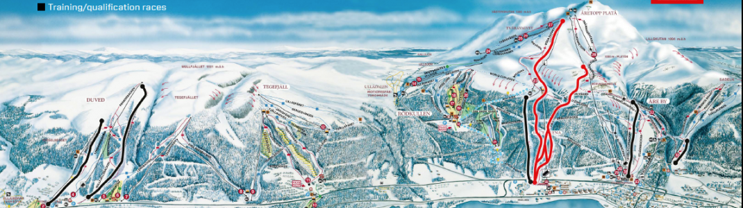 All of the final races (marked red here) take place on Åreskutan mountain and end at Åre's Race Arena.