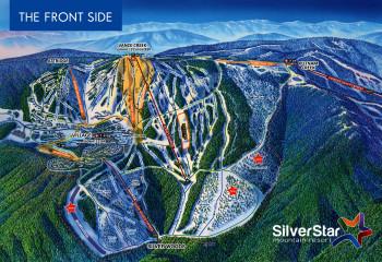 Mit zahlreichen grün und blau markierten Pisten ist die Front Side in Silver Star ein traum für Anfänger, Familien und Genussskifahrer.