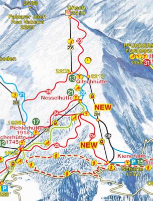 Im neuen Pistenplan sind die Neuerungen am Gitschberg gut zu erkennen.