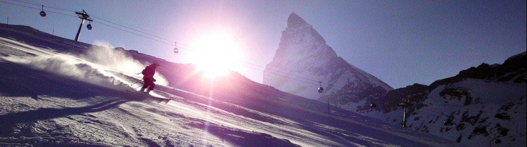 Traumhaft Skifahren geht auf dem Zermatter Gletscher - hier ist Matterhorn Paradise nicht nur eine Phrase