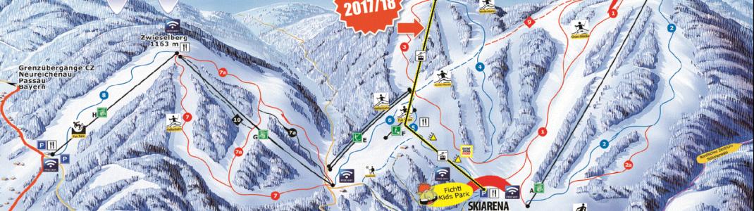 Von der Talstation an der Skiarena über eine Mittelstation am Rehberg führt die neue Gondelbahn hinauf zum Gipfel des Reischlbergs.