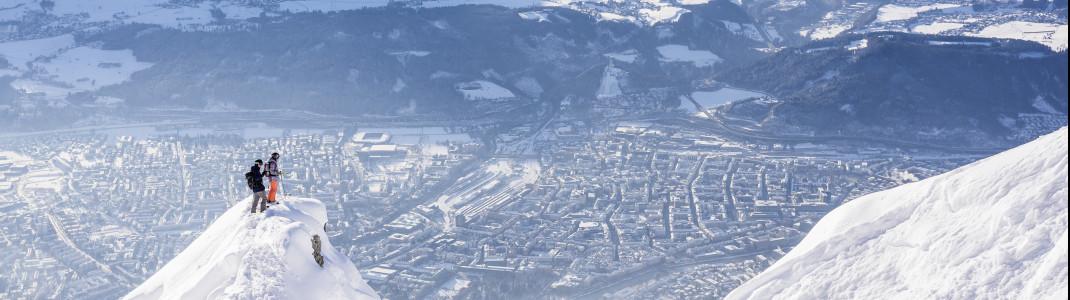 Die Nordkette bietet Freeride-Abenteuer mit Blick auf Innsbruck.