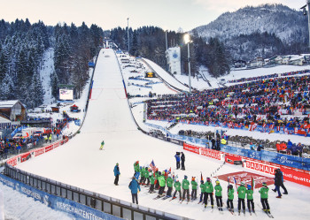 The tour ends at the ski jumping hill in Bischofshofen.