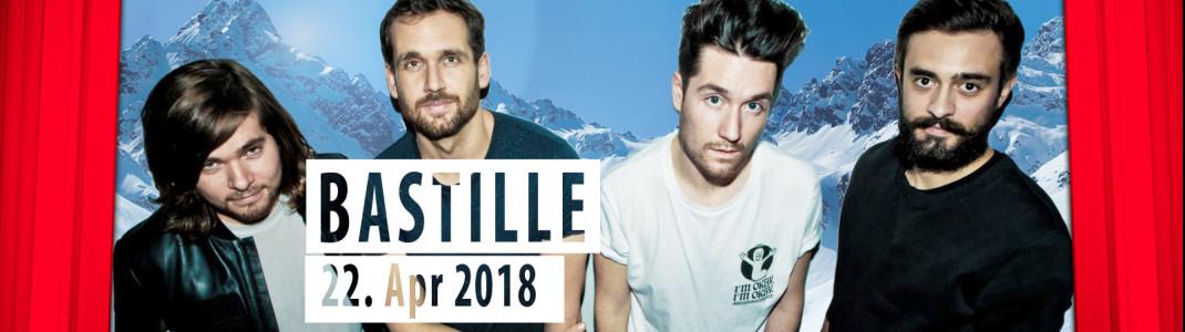 """Die Indie-Rockband Bastille kommt am 22. April 2018 zum """"30. Internationalen Frühlings-Schneefest"""" nach Samnaun."""