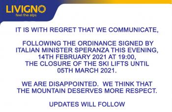 Wie groß die Enttäuschung ist, zeigt u.a. die Ankündigung der anhaltenden Schließung auf der Website des Skigebiets Livigno.