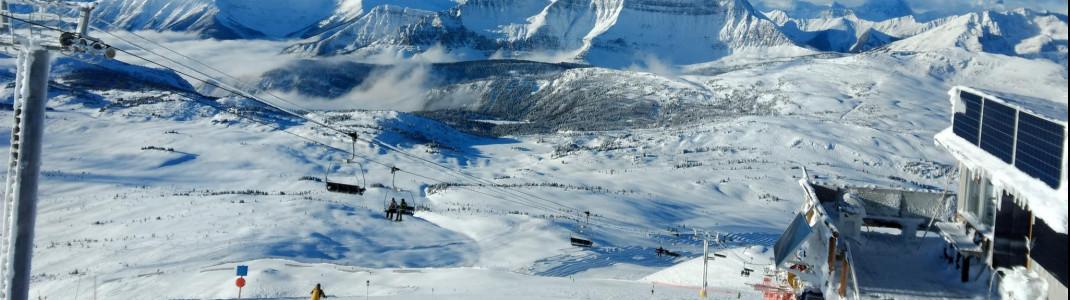 Sonnenschein, perfekte Pisten und die kanadischen Rockys vor Augen - das ist Skifahren in Sunshine Village (Alberta)