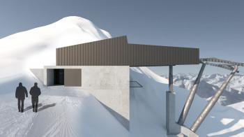 Die Bergstation liegt auf 3.044 Metern Höhe direkt an der Grenze zu Italien.