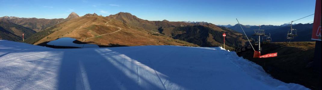Snowfarming macht's möglich: In Kitzbühel startet die Skisaison am 14. Oktober. 2 Pistenkilometer stehen zur Verfügung.