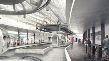 Innenansicht eines Stationsgebäudes der neuen Kabinenbahn Olang 1+2
