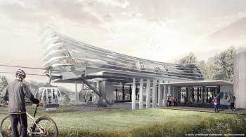 Entwurf der neuen Talstation mit dem charakteristischen wellenförmigen Dach aus transparenter Folienhaut.