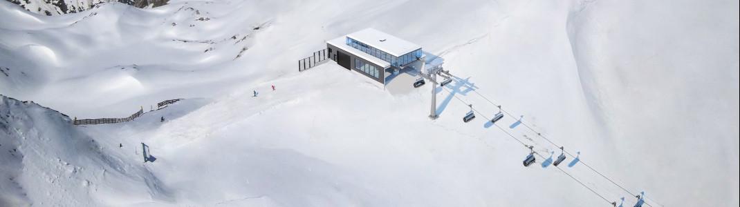 Die Bergstation der Madlochbahn ist mit einer leichten Glas-Stahl-Konstruktion überdacht.