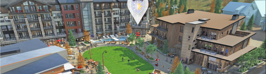 This is what Limelight Hotel Snowmass's structure and plaza will look like.