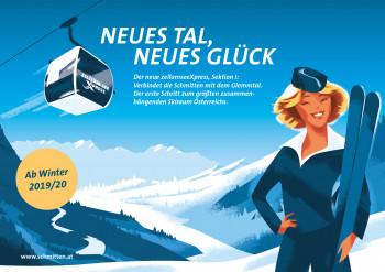 Mit Werbeplaketen weist die Schmittenhöhebahn im Winter groß auf die Neuerung hin.