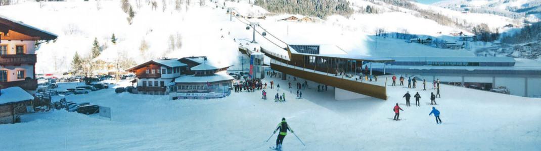 Blick auf die Talstation der Sonnbergbahn in Unterberg. Über die Bundesstraße wird eine Skibrücke führen.