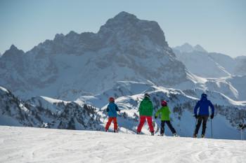 Der Diedamskopf bietet breite Familienabfahrten aber auch steile Pisten.