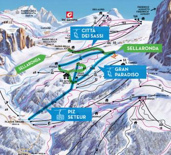 Die neue Kabinenbahn zum Piz Seteur startet in Plan de Gralba auf 1800 Höhenmetern.