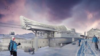 Die neuen Stationen der Kabinenbahn Olang 1 + 2 bestechen durch ein markantes Dach aus durchsichtiger Folienhaut.