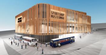 So soll die neue Talstation der Spieljochbahn in Zukunft aussehen. Die Fassade soll aus Holz- und Glaselementen bestehen.