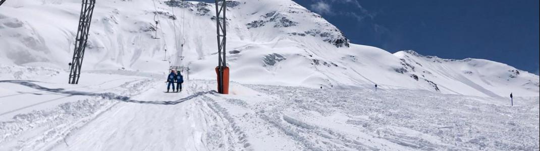 Reichlich Neuschnee liegt auch noch Ende Mai auf den Gletschern, wie hier im Kaunertal.