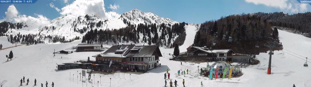 Rund 20 Zentimeter Neuschnee fallen in dieser Woche im Südtiroler Skigebiet Speikboden. Die Lifte sind noch bis Freitag, 21. April geöffnet.