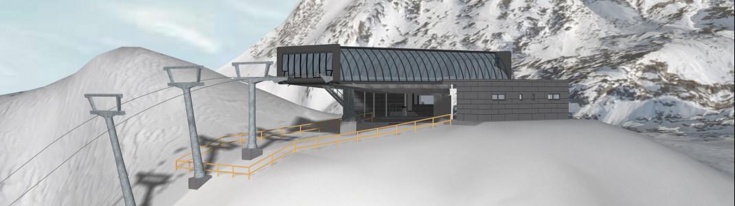 Blick auf die neue Bergstation der Kirchenkarbahn auf 2839 Metern.