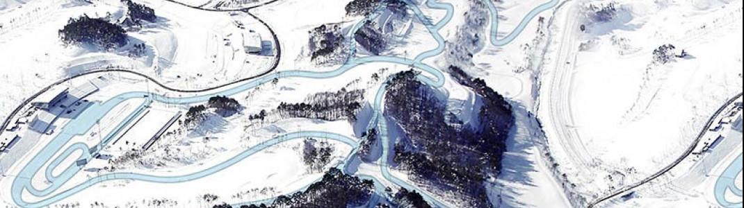 Der Streckenverlauf im Alpensia Sports Park.