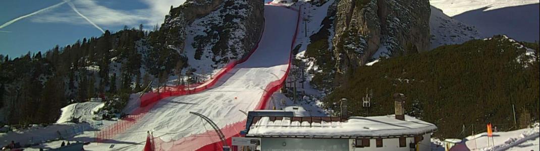 """Blick auf die Olympiaabfahrt """"Tofana"""" in Cortina d'Ampezzo. Hier finden die alpinen Frauenrennen und das Team-Event statt."""