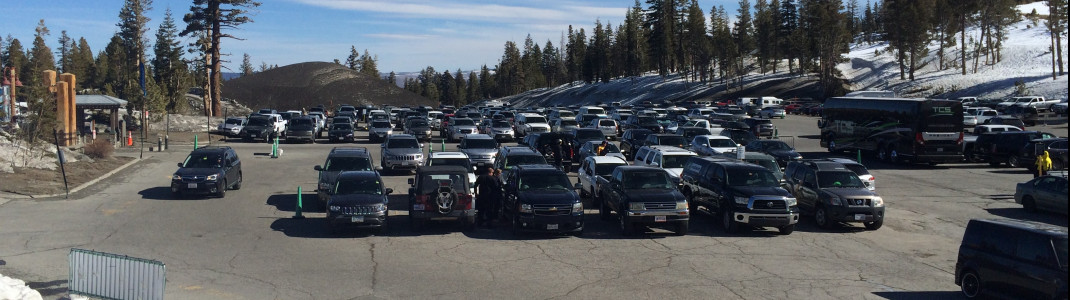 The parking spots at Mammoth Mountain are free - as long as you don't necessarily have to be first in line.